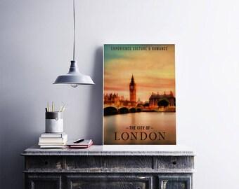 City Of London 12x18 Poster Art Print England British Art City London Wall Art Print Sunset Sky Art