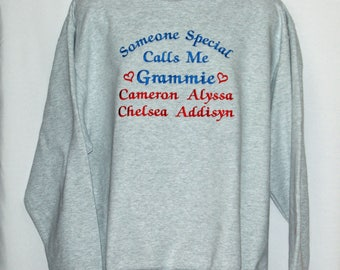 Grammie Sweatshirt, Custom Grandparent Gift, Personalize With Four Kids Names, Nona, Gramma, Granny, Mammy, No Shipping Fee,  AGFT 1253