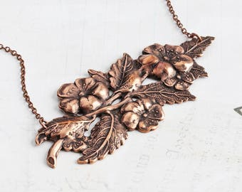 Antiqued Copper Plated Wild Rose Flower Pendant Necklace