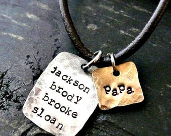 Mens Hand Stamped Charm Necklace, Mens Personalized Necklace, Custom Mens Jewelry, Gift for DAD, Fathers Day Gift