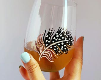 Guinea Feather Hand Painted Wine Glass