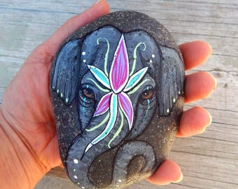 Indian ELEPHANT Painted Stones Sacred Art Totem Animals Spirit Guides Wildlife ART Indian Elephants Hand Painted Rocks Lotus and Nightshade
