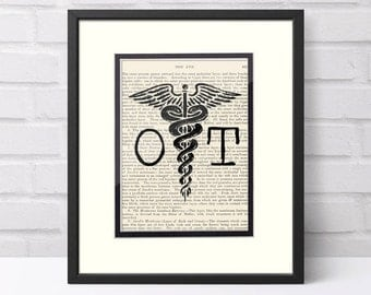 Optometrist Gift - OD Caduceus over Vintage Medical Book Page - Optometric Assistant, Optometrist Graduation Gift, Eye Dr. Gift