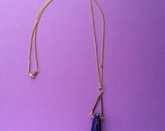 Hipster Rainbow Purple Quartz Titanium Pendant Long Necklace