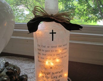 Wine Bottle lamp,christian gifts,lighted bottles,gift for her,sister,mom,mothers,lighed wine bottles,lamp,lamps,religious,Scriptures