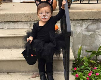 Toddler Cat Costume, Kitty Costume, Toddler Black Cat Costume, Black Kitty Cat Costume, Kitty Cat Costume, Baby Cat Costume, Kitty Ears