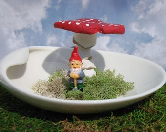 Handmade Vintage Paperclay Mushroom in a Saucer with a Tiny Gnome