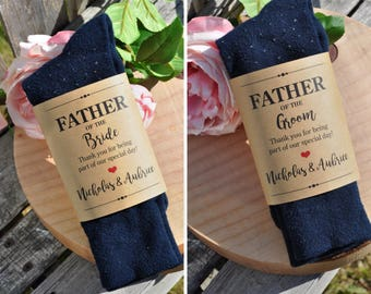 Wedding Sock Label for Father of the Bride and Groom, Wedding Gift for Dad, Wedding Sock Wrapper, **PRINTED & SHIPPED** - Set of 2 Wraps