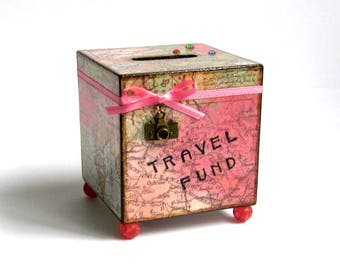 World Map Coin Bank Travel Vacation Decoupaged Wood Square Savings Bank Piggy Bank Multicolor Map