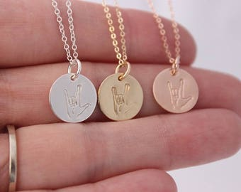 ASL • I LOVE YOU • Sign Language Necklace • 14K Gold Filled, Rose Gold Filled Sterling Silver Jewelry • Hand Stamped by malisay designs