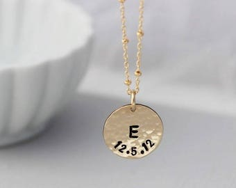 Initial and date stamped disc • Gold push present for new mom • Gold initials • Hammered simple disc necklace • Minimalist mommy jewelry