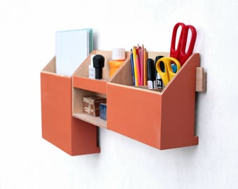 Wall Organizer Orange, Mail organizer, Wall Office Paper organizer, Modern pen holder, Office Mail Storage set, Christmas gift,