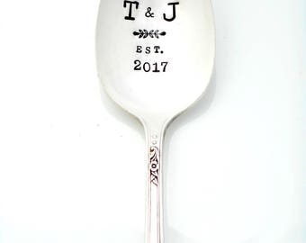 Personalized Serving Spoon with Monogram or Initials with year established. Hand Stamped Custom Vintage Silverware. Large Tablespoon, Spoons