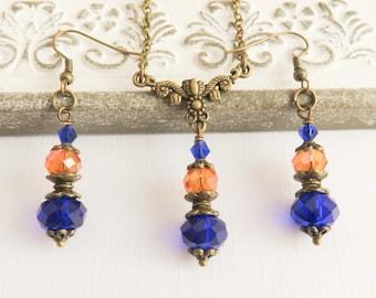 Orange with blue bridesmaid jewelry set, vintage style wedding jewelry, burnt orange bridal jewelry, bridesmaid gift, sapphire blue