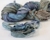 """Recycled Sari Ribbon ,by the yard, """"Rainy Sky"""" hand dyed chiffon ribbon, jewelry making, doll clothing, spinning supplies"""