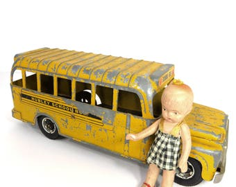 Hubley School Bus Toy Vintage 1960s Yellow Diecast Metal