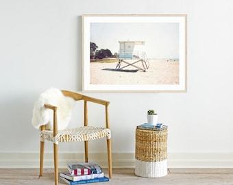 Framed Beach Print, Beach Wall Art, Decor, Framed Art, Lifeguard Tower, Beach Photography, California Decor, Beach House Art
