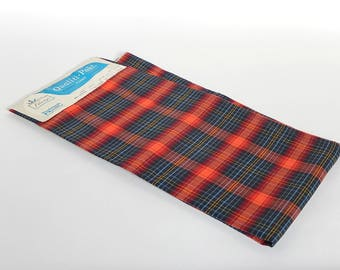 NOS Tartan Plaid Fabric 1960s Woolworth Woolco Cotton Fabric, Blue Red Plaid Fabric 3 Yards, Excellent Condition