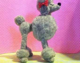 Gray Poodle / Felted / Snooty Poodle / Miniature / Figurine
