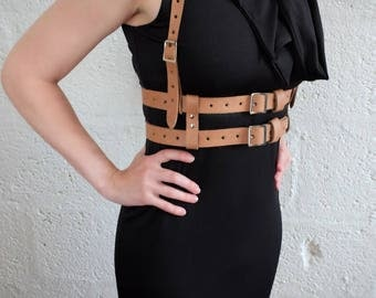 Real Leather Two Story Harness - Natural - steampunk - burning man - mad max - fury road - please read description for size