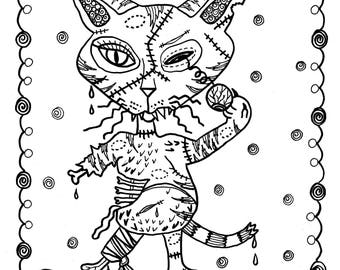 5 pages Fantasy Cats Instant downloads Scarry halloween/coloring/adult coloring/coloring pages/zombie cat
