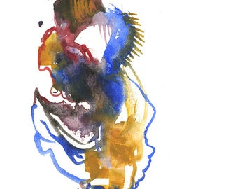 """Original Watercolor Abstract Figure Artwork featuring a Surreal Fashion Illustration 6"""" x 6"""" - 245"""