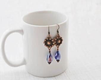 Blue and Copper Earrings, Antique Copper, Cobalt Blue, Teardrop Earrings, Crystal Earrings, Blue Earrings, Vintage Style, Boho Earrings