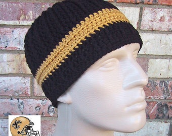 Beanie in Team Colors - New Orleans Saints - Black & Gold - Unisex / Mens Size S/M - Crocheted Hat - Acrylic Yarn - Nice Gift for Sports Fan
