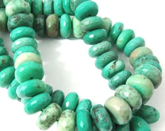 Green Moss Opal, 14mm, Rondelle, Faceted, Large, Gemstone Beads, 15 Inch Strand - ID 2362