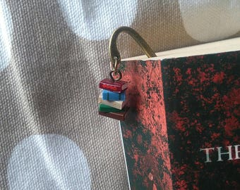 Book Bookmark (in library colours) - stack of books charm dangle bronze bookmark for booklovers bookworms author library (Made to Order)