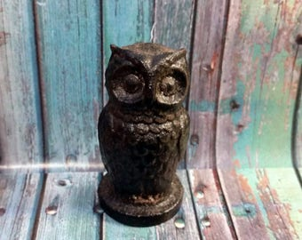 Black Metal Owl Figurine