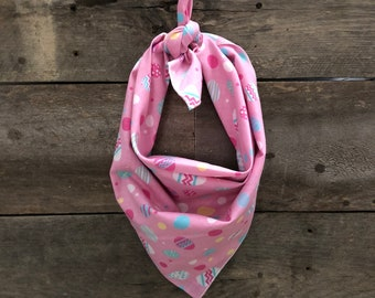 Easter Spring Pink Pastel Eggs Tie On Dog Bandana