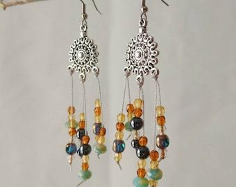 Bohemian Earrings, Dangle Earrings, Long Earrings, Beaded Earrings, Boho Earrings, Bohemian Jewelry, Gypsie Earrings, Dream Catcher Earrings