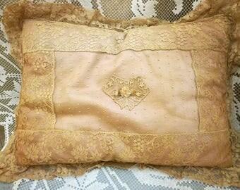 Antique French net lace & silk boudoir pillow ribbon rosette applique early 1900's