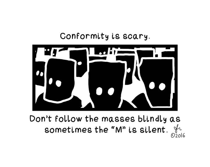 Art Punk Shirts Punk Shirt Print Political Punk Conformity is Scary Masses without the M Crust Anarcho DIY Small Cloth Shirt
