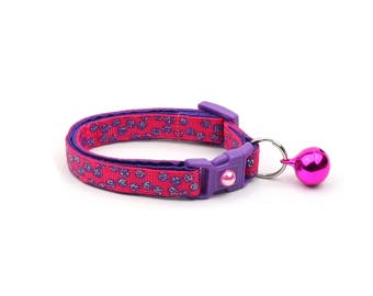 Polka Dot Cat Collar - Purple Dots on Dark Pink - Breakaway Cat Collar - Kitten or Large size