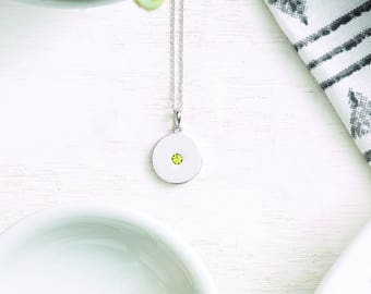 Solid Gold Birthstone Disc Pendant Necklace - Birth Month Gemstone. 14k, 18k Yellow, Rose, White Gold, Platinum. FREE Initial Back Engraving