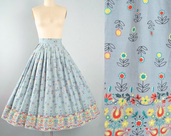 "Vintage 50s Border Print Skirt / 1950s Cotton Floral Red Yellow Green SUNFLOWER Daisy Garden Party Full Skirt Pinup High Waist 26"" 27"" Small"