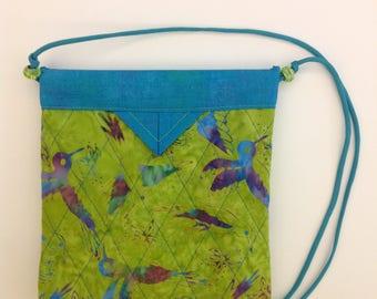 "Birds and Blooms Quilted Batik Fabric Snap Bag Purse Handbag Handmade 7-3/4"" x 8-1/2"""