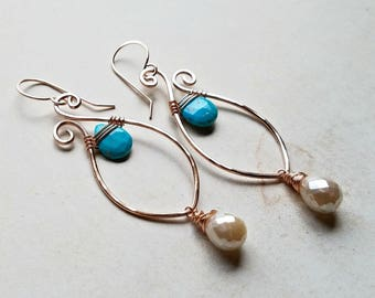 Turquoise Paisley Earrings, Paisley Hoop Dangle, Peach Moonstone Earrings, Marquise Earrings, Sleeping Beauty Turquoise Hoops