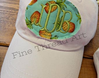 LADIES Pineapple Applique Monogram Baseball Cap Hat LEATHER strap Nautical Anchor Sailboat Summer Beach Girls Trip Vacation Pigment Dyed