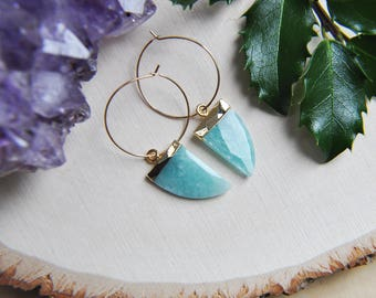 Horn earrings, Hoop Earrings, Gold Hoop Earrings, Gold Filled Hoops, Gemstone Earrings, Moonstone Earrings, Amazonite Earrings, Prehnite