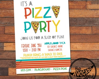 Trendy Modern Pizza Party Invitation - DIY Printing or Professional Printing