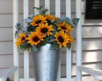 Sunflower Door Hanger, Sunflower Wreath, Galvanized Metal Wall Planter, Wall Pocket