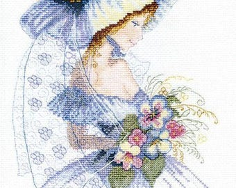 NEW UNOPENED Counted Cross Stitch Kit Charivna Mit BT-129 Lady with Flowers