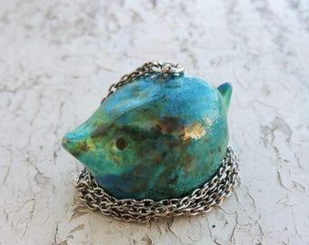 Raku Ceramic Bird Pendant Necklace