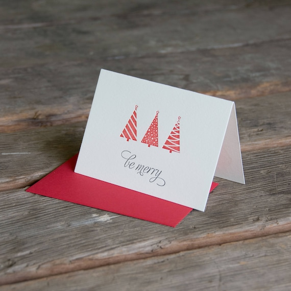10 BE MERRY Holiday Card, modern trees (letterpress printed) - eco-friendly