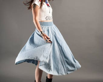 1980's Chambray Skirt w/Pockets