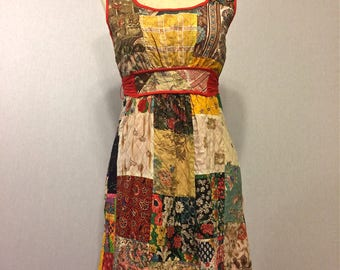 Vintage 60s Patchwork Quilted Maxi Dress