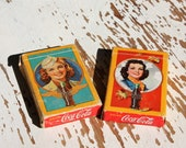 Original Genuine Coca Cola Coke Playing Cards Flying Girl Stewardess WWII & Autumn Girl 1940s Pin Up Soft Drink Advertising Collectible